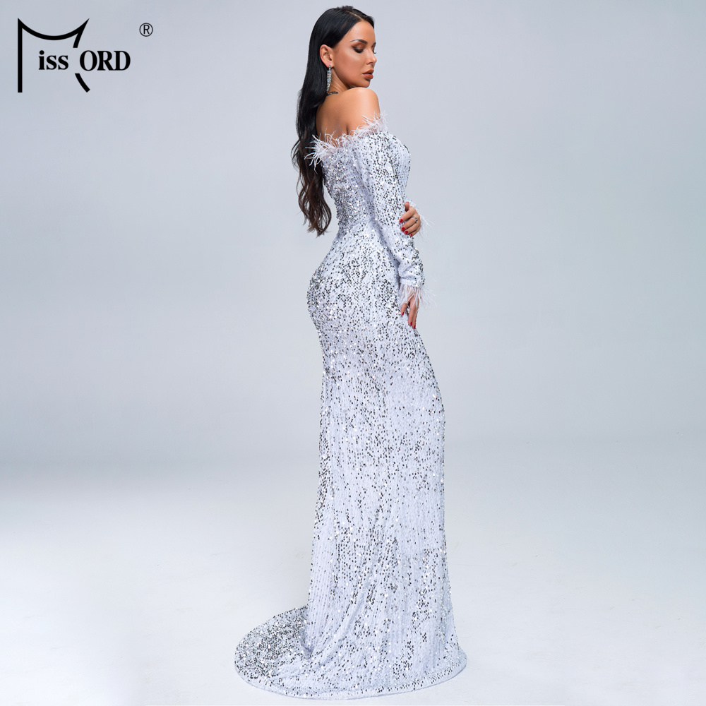 HTB1eZbjXlaE3KVjSZLeq6xsSFXaf - Missord Sexy Off Shoulder Feather Long Sleeve Sequin floor length Evening Party Maxi Reflective Dress Vestdios FT19005