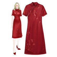 Large Size Vintage Chinese Qipao Classic Women Satin Cheongsam Embroidery Floral Dresses 2019 Autumn Evening Party Gown