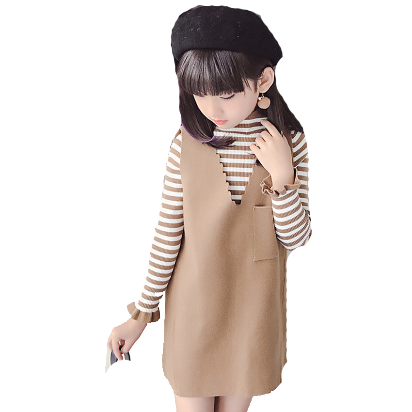 Students Clothing Sets For Girls Striped Dresses & Vests 2Pcs Spring Autumn Knitted Sweaters For Girls Waistcoats Kids Outfits