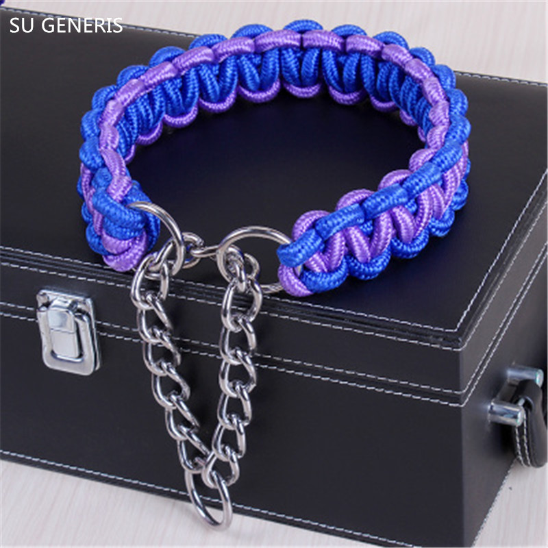 Dog collar P chain collars pet Traction lead Nylon outer and cotton core S M L