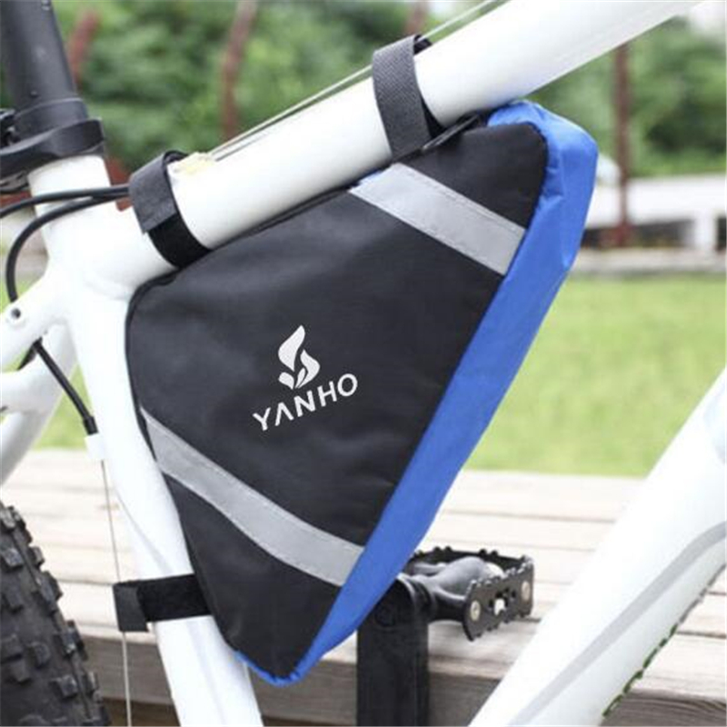 Reflective Bicycle Frame Tube <font><b>Bag</b></font> Bicycle Pannier Cycling Pack <font><b>Bike</b></font> Front Tube <font><b>Bag</b></font> Triangle Pouch MTB Road Bicycle Frame Pouch image