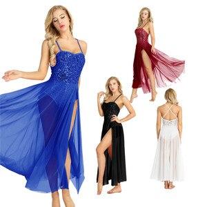 Image 2 - Женское балетное платье с блестками TiaoBug, Сетчатое блестящее балетное платье без рукавов, танцевальное трико для взрослых, балерина, для вечеринки, для сцены