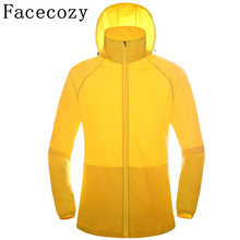 Facecozy Women Men Hooded Quick Dry Hiking Camping Shirts Summer Outdoor Sport Breathable Thin Fishing Jackets