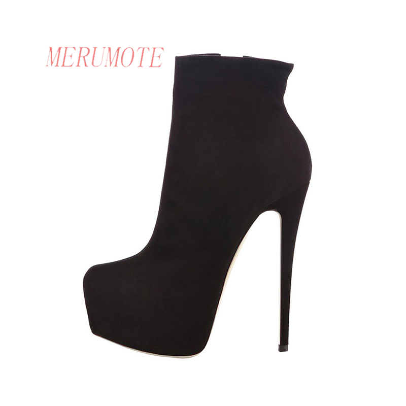 f519536439b MERUMOTE Women s J 109 Fashion Hidden Platform Thin High Heels Side Zipper  Ankle Boots Shoes-in Ankle Boots from Shoes on Aliexpress.com