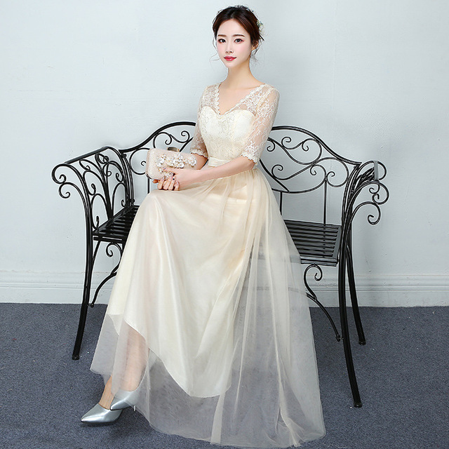 lace champagne long v neck bride maids dress modest bridesmaid ...