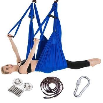 Полный набор 2,5*1,5 м подвесной гамак для йоги анти-гравитационный Нейлон Йога-гамак Пилатес домашний спортзал подвесной ремень потолочные п...