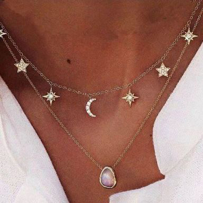 Tocona Boho Star Moon Crystal Water Drop Shinning Layered Necklaces&Pendants Gold Chain Choker Women Accessories Collier 5424