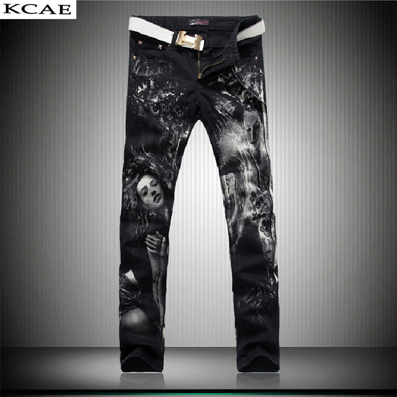 цены  3D Print Jeans Pants 2016 Black Fashion Jeans Men Print Straight Slim Designer Painted Stretch Jeans For Men Slacks Jean 28-38