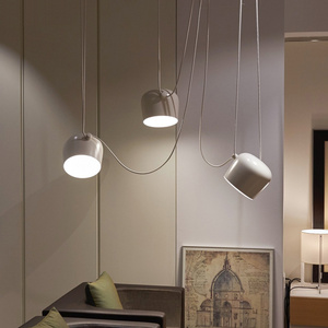 Image 2 - Nordic Personality DIY Spider Pendant Lamp White or Black Drum Shade Pendant Light Modern Adjustable Hanging Drum Light Fixture