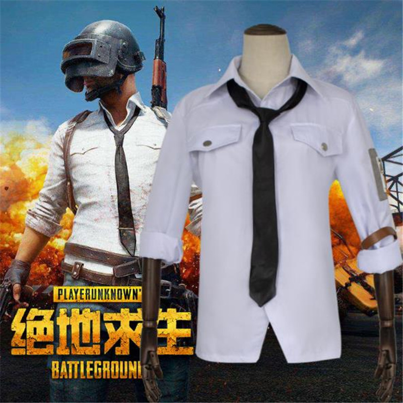 BOOCRE Game PUBG Cosplay clothing White shirt tie gloves Unisex Costumes