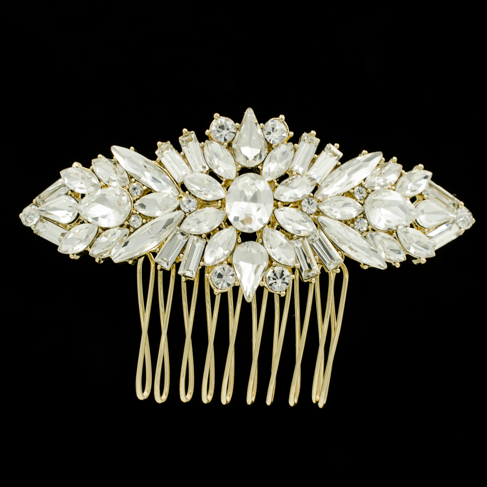 Gold Silver Rose Gold Rhinestone Crystal Flower Wedding Hair Comb Jewelry