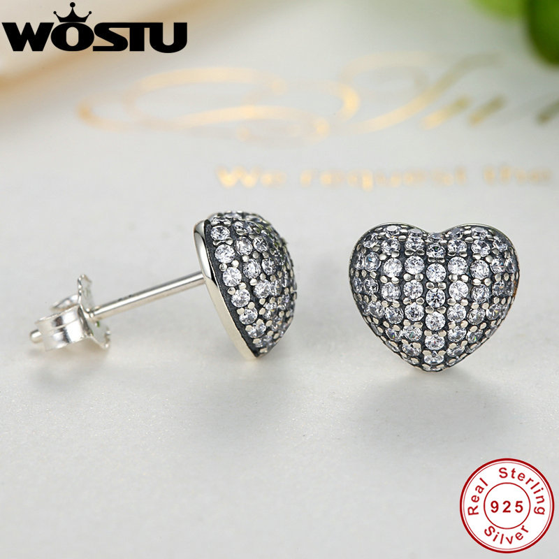 d9696e2f5 2019 New Real 925 Sterling Silver In My Heart Pave Stud Earrings With Clear  CZ For Women Lady Authentic Original Jewelry Gift-in Stud Earrings from  Jewelry ...