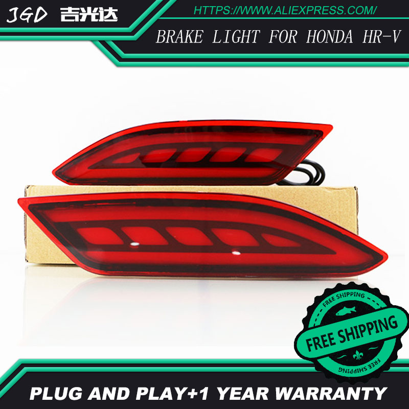 Free shipping LED Rear Bumper Light Rear Fog Lamp Brake Light Turn Signal Light Reflector For Honda HRV HR-V 2015 2016 2017 rear fog lamp running light turn signals brake light for toyota highlander 2015 bumper reflector