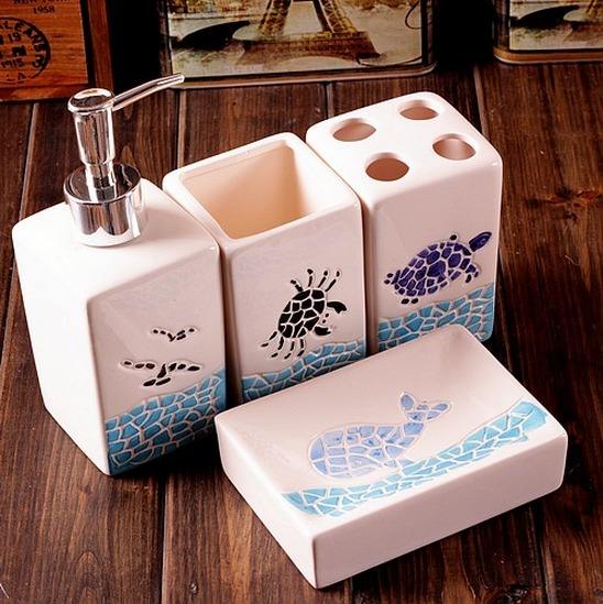 Bathroom Toilet Ceramic Set 4 PCS Blue Sea Whale Crab Turtle Toothbrush  Holder Cup Soap Bottle