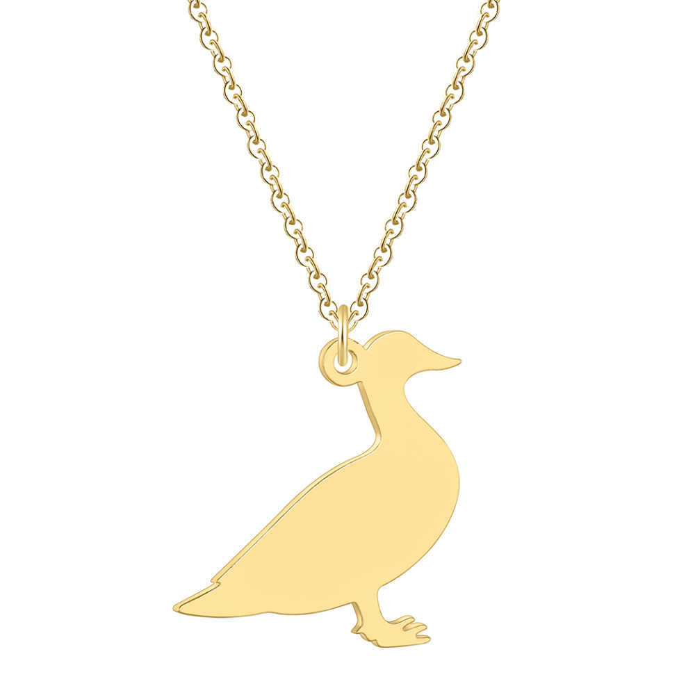 QIAMNI Novelty Lovely Farm Animal Duck Pendant Necklace Collars Stainless Steel Jewelry Souvenir Pet Lovers Charm Birthday Gift