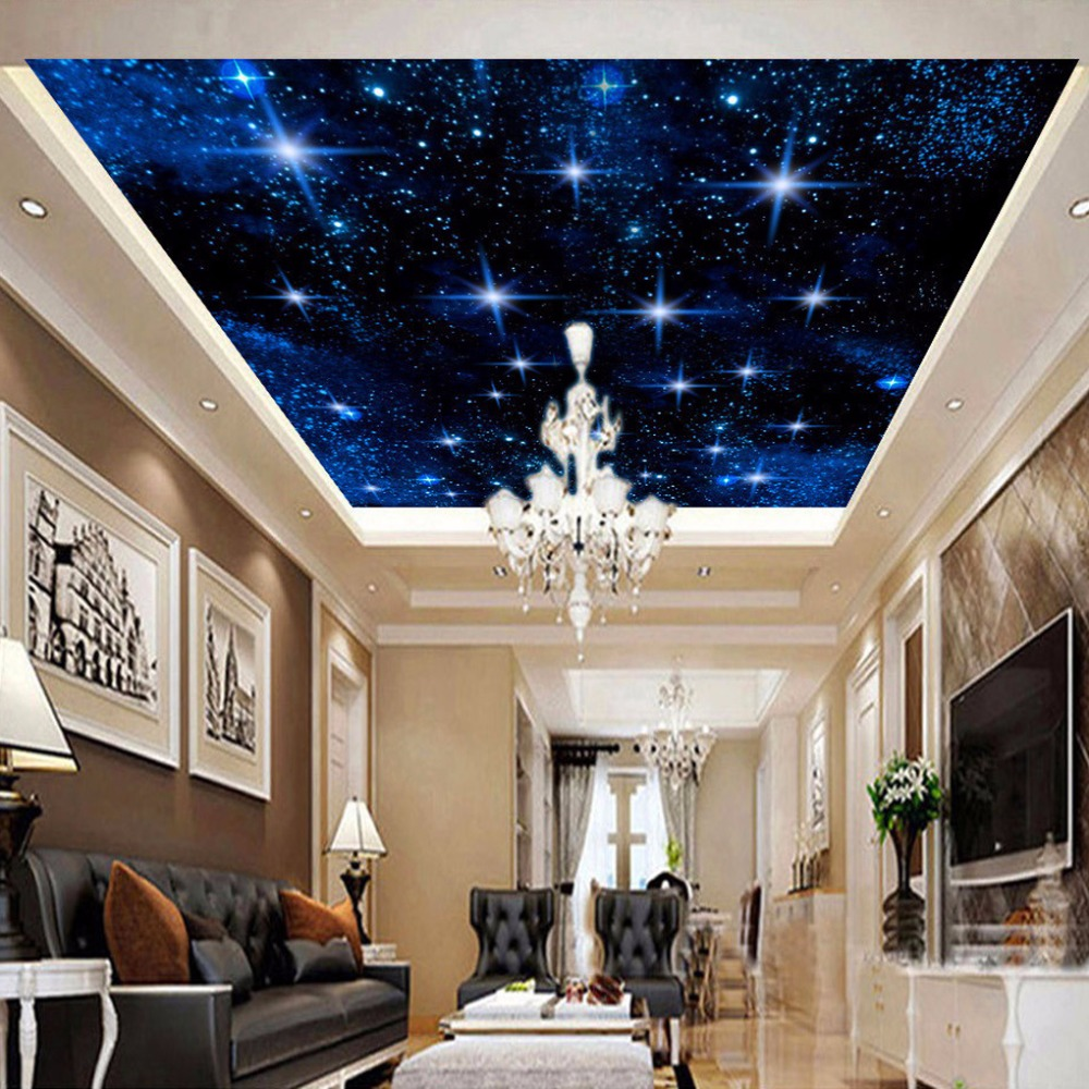Custom 3D Wall Murals Wallpaper For Living Room Kids Room Bedroom Star Night Sky Ceiling Background Wallpaper Walls Room