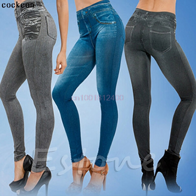 1PC Women Jeans Skinny Jeggings Stretchy Denim Pencil Pants Leggings Jeans Tight Trousers dkny jeans women s printed denim ankle jeggings 2p multi