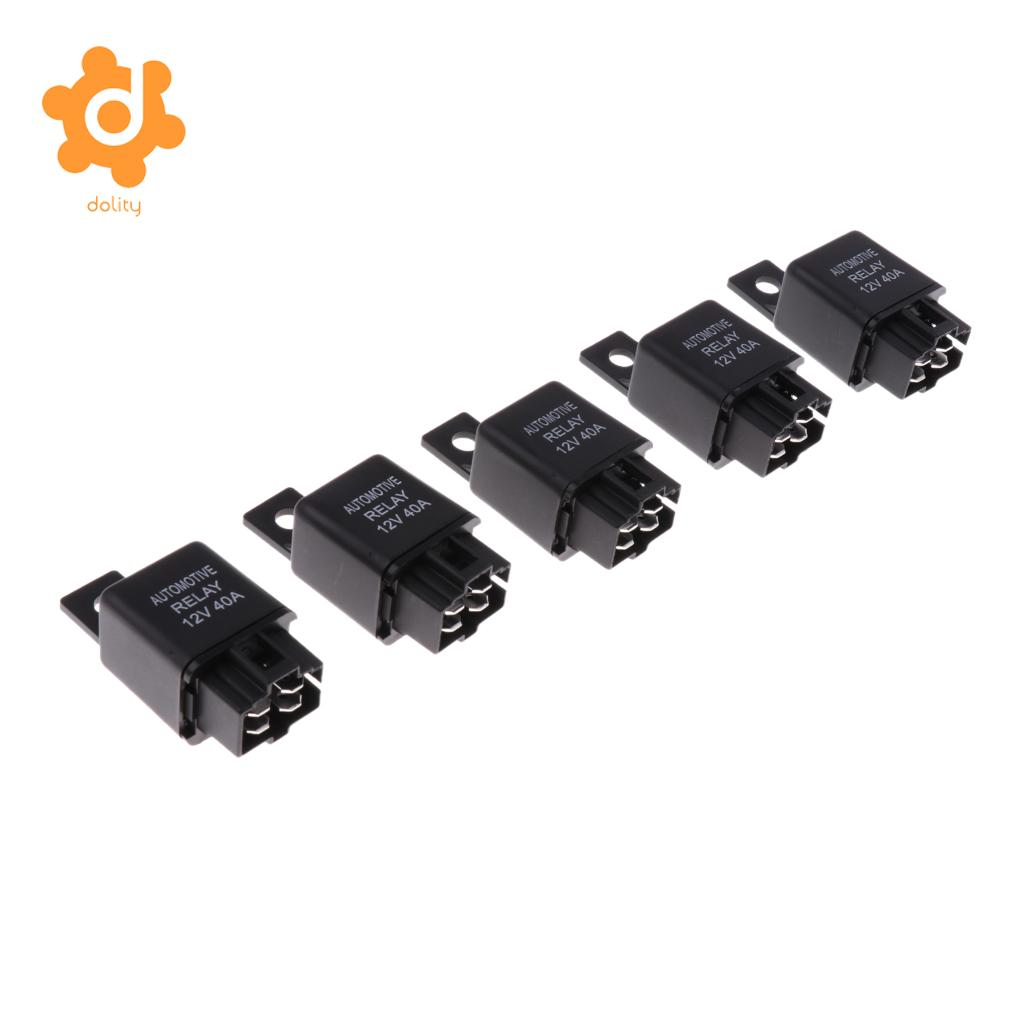 5 Pieces Car Air Conditioning Relay 12v 12 Volt 40a 4 Pin Spst On Prong Off Relays