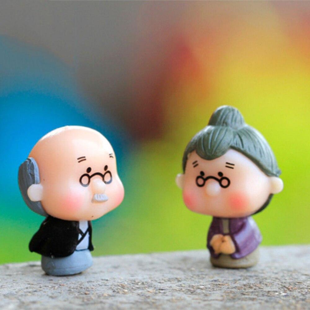 Old Granny Fairy Garden Gnome Animals Moss Terrarium Home Desktop Decor Crafts Bonsai Doll House Miniatures