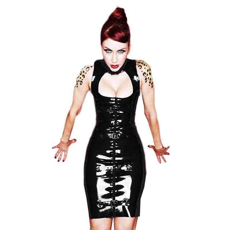 Vêtements femmes Sexy évider noir vinyle cuir Robe Vestido Punk Rock moulante col roulé Robe de soirée discothèque Robe