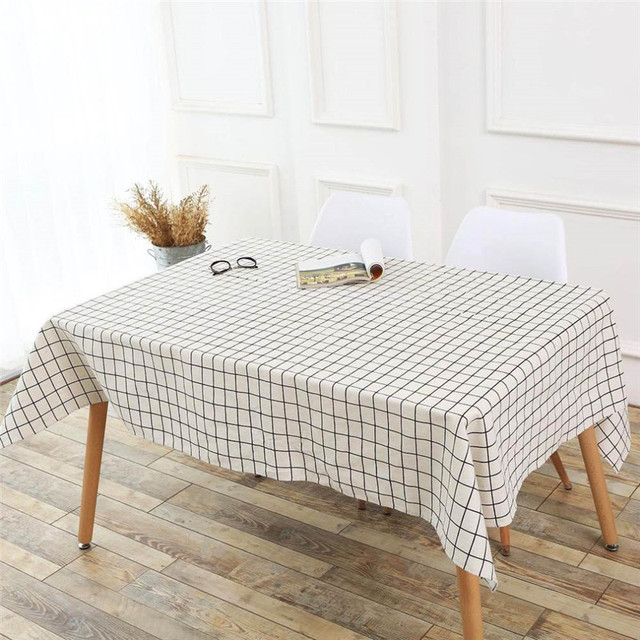 1pcs Table Cloth Country Style Plaid Print Rectangle Dining Cotton Linen Cover For Party Wedding