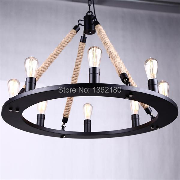 Black Twisted Cable Unique American Style Pendant Light