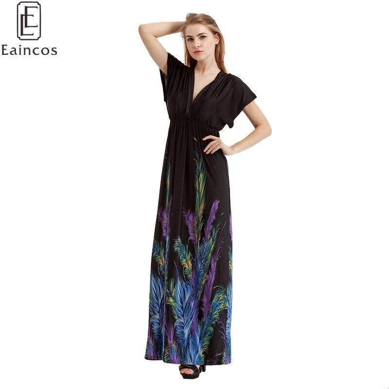 New Summer Women Plus Size Vestidos Black Feather Floral ...