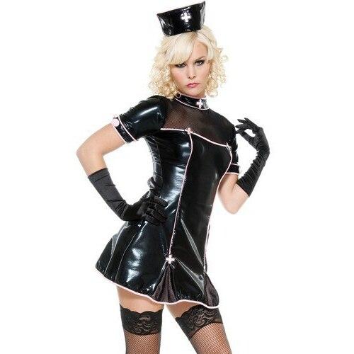 2017 New Fashion Patent Leather Black PU game uniforms uniform temptation nurse dress sexy lingerie wholesale free shipping