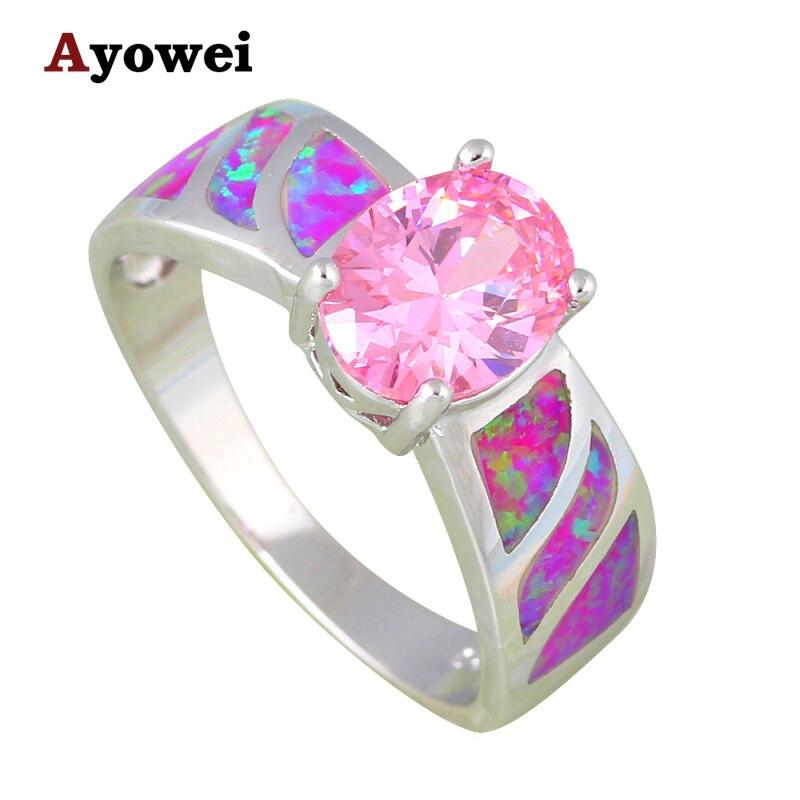 Belle Rose Zircon De Mariage Cadeaux Bijoux De Mode Pourpre Opale de Feu  Argent Estampé Anneaux USA Taille  6  7  8  9  10 OR841A ef670fb82a5f