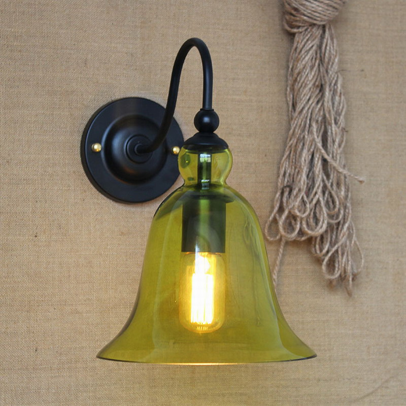 4 color Vintage wall lights lighting cyan glass wall lamps for bedroom dinning living room aisle bed balcony cafe sconce fixture bedside wooden wall lamp wood glass aisle wall lights lighting for living room modern wall sconce lights aplique de la pared