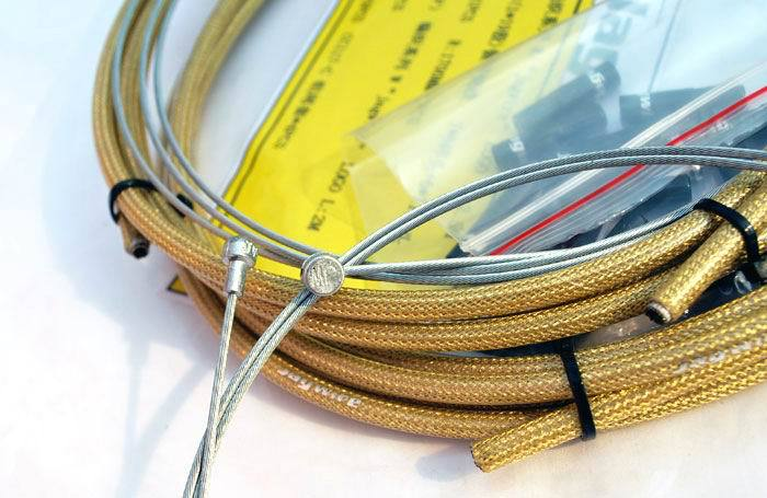 JAGWIRE BRAIDED HOUSING CABLE BRAKE DERAILLEUR COMPLETE KIT GOLD