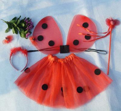 Cute Ladybug 4pc Set (Wings,Tutu,Headband,Wand) Kids Girls Halloween Costume Red halloween butterfly wings head band wand white 3 piece set