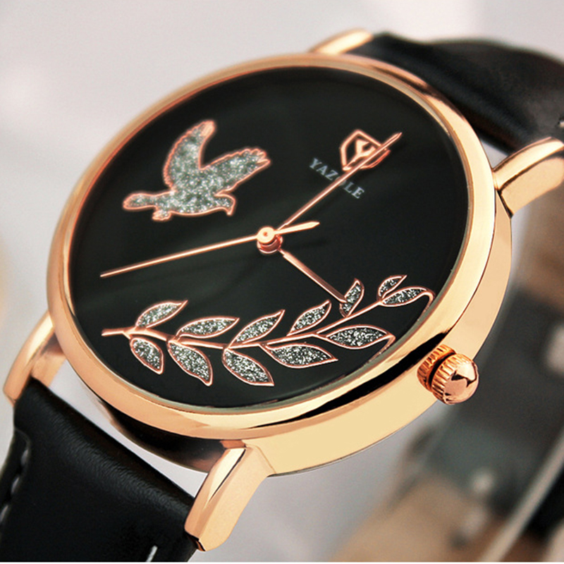 fashion watch women pu leather strap quartz watch yazol