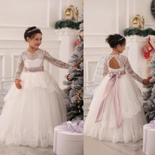 Lace Flower Girl Dresses Long Sleeves Little Girl For Formal Party Ball Gowns Ruffles Pink Ribbon Sash Floor Length Applique