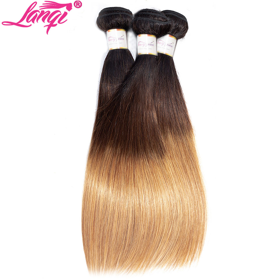 Image 3 - Brazilian Straight human hair weave bundles with closure blonde bundles with closure 1b/4/27 3 tone ombre bundles with closure-in 3/4 Bundles with Closure from Hair Extensions & Wigs