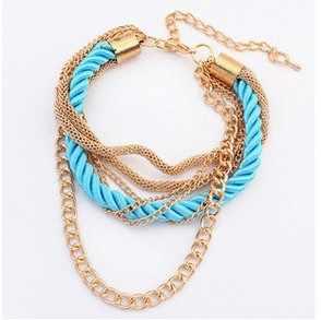 Venta al por mayor nuevo estilo bajo llave lujosa cadena de Metal cuerda trenzada multicapa pulsera tobilleras para mujer