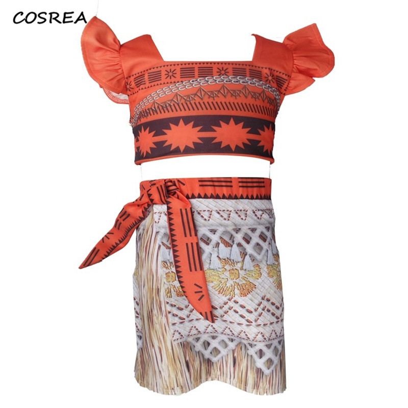 Princess Moana Cosplay Costumes for Children Moana Costume for Adult Women Halloween Party Props Sets for Kids Girls Gift Dress