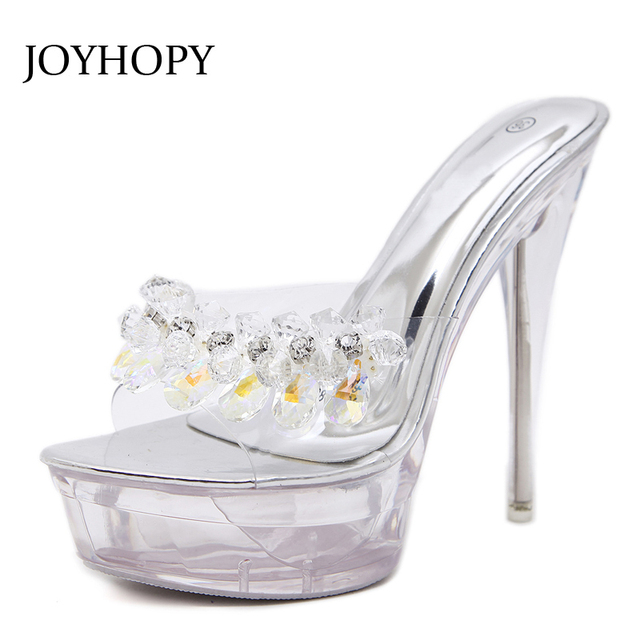 91842c09986e JOYHOPY Women Crystal Sandals Sexy Anti-skid Transparent Thin Heel Slippers  Woman Rhinestone High Heels Platform Shoes WS1681