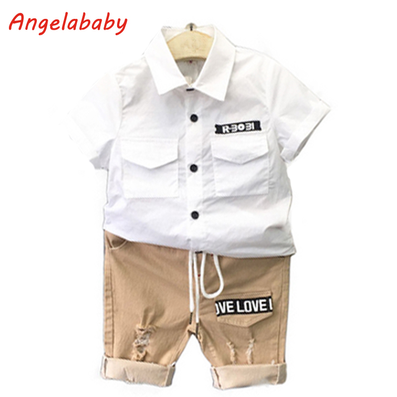 2018 Boys Clothing Set Summer New Solid Color Lapel Short Sleeve Shirt + Casual Letter Shorts Kids Clothes Suit