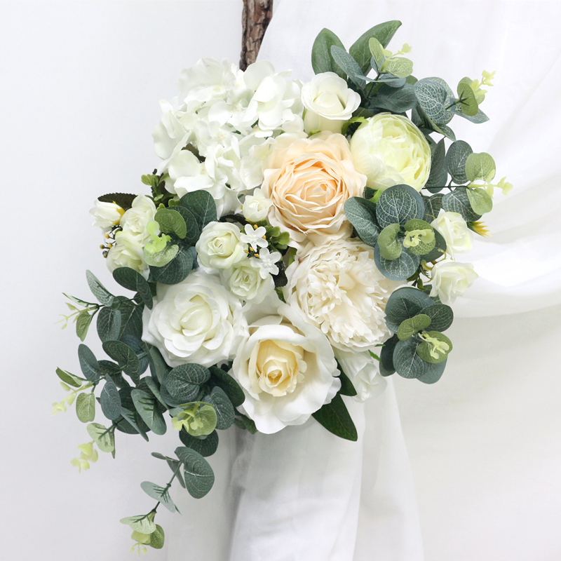 JAROWN Warm White Wedding Props Simulation Rose Hydrangea Flower DIY Set Artificial Plant Wedding Home Party Decoration Flores (5)
