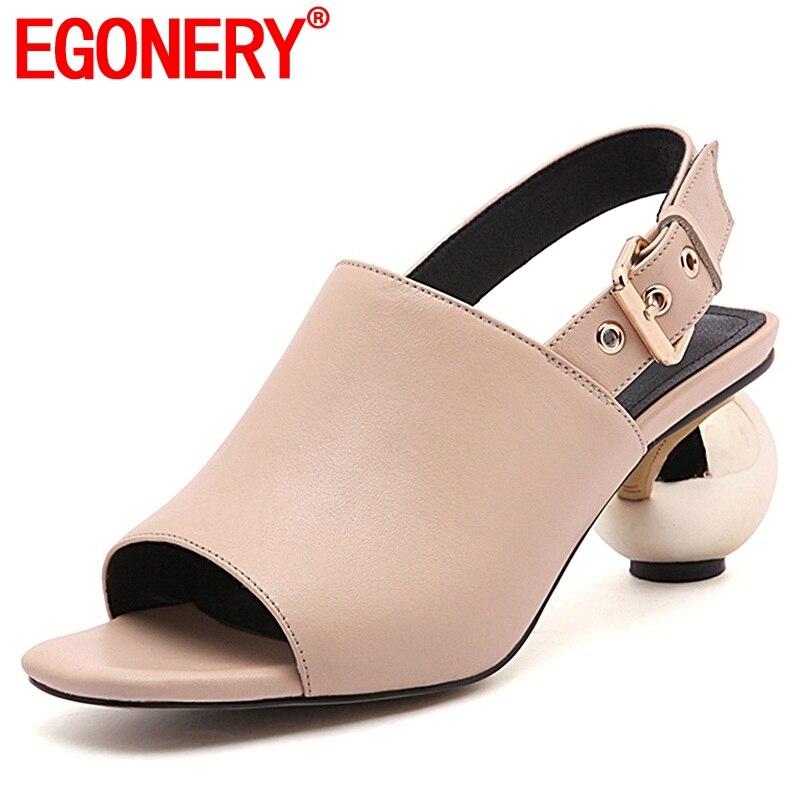 EGONERY kobiety sandały buty 2019 panie sferyczne obcas buty z wystającym palcem miękkie prawdziwej skóry kobieta czarny moreli obcasy sandały party w Wysokie obcasy od Buty na AliExpress - 11.11_Double 11Singles' Day 1