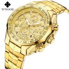 2019 Yeni WWOOR İzle Erkekler Chronograph Kuvars İş Saatler Üst Marka Lüks Erkek Su Geçirmez kol saati paslanmaz çelik saat