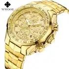 2019 nuevo reloj WWOOR reloj de cuarzo cronógrafo para hombres relojes de negocios de alta marca de lujo para hombre reloj de pulsera resistente al agua reloj de acero inoxidable