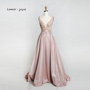 Image 3 - Limon joyce yeşil balo kıyafetleri 2020 seksi v yaka boncuk parlak Dubai gece elbisesi vestidos de gala artı boyutu