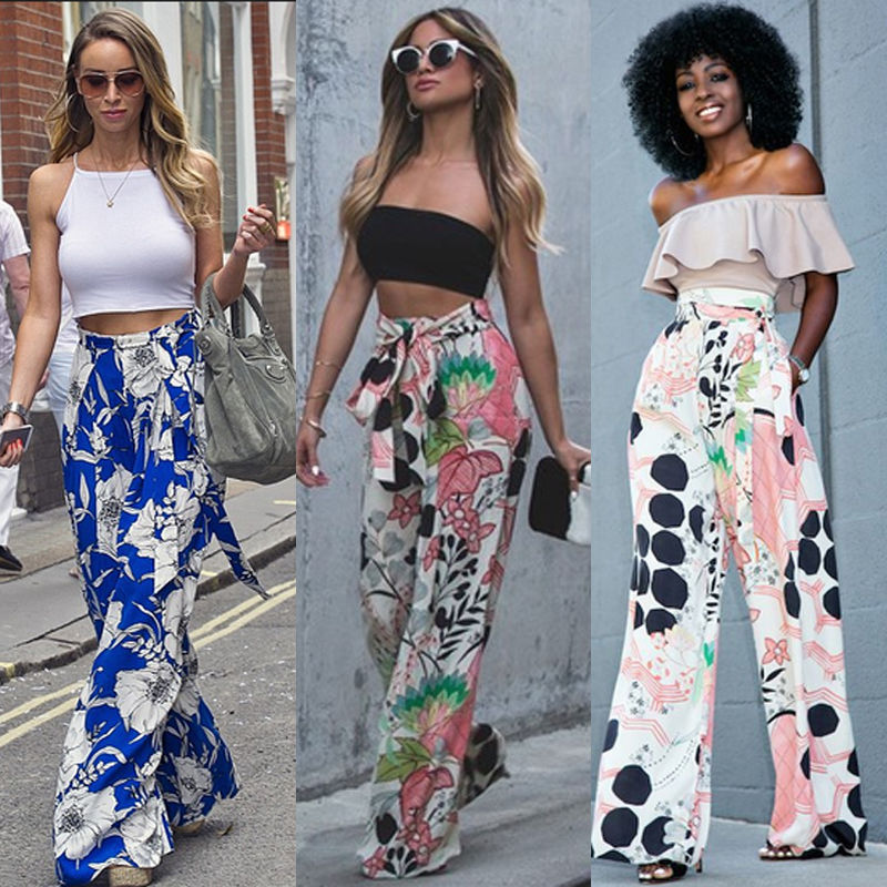 Summer Women Chiffon   Pant   Loose Stretch High Waist   Wide     Leg     Pants   Print Palazzo   Pants   Female Long Trousers HOT