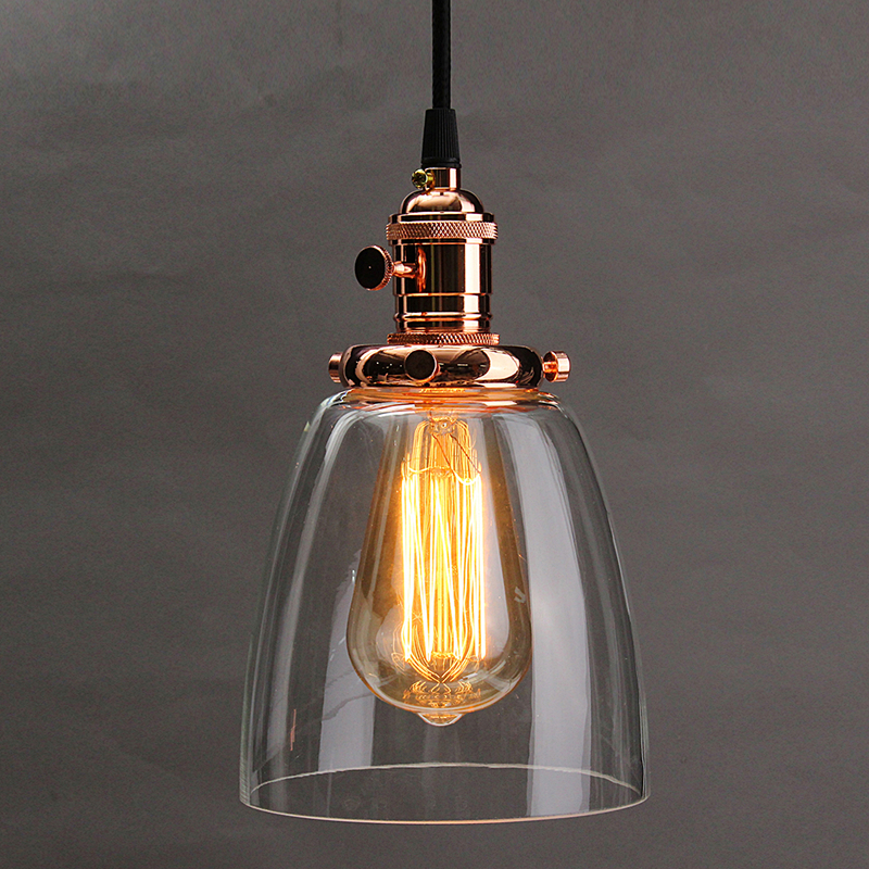 E27 Retro Vintage Chandelier Lamp Shade Industrial Lamp Cover 2M Cord Coffee Bar Glass Cover Ceiling Pendant Light Base