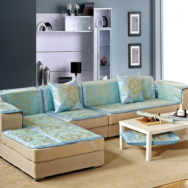 Blue Ice Silk Rattan Seats Sofa Cover For Summer Fabric Home Wedding  Decoration 70cm*210cm