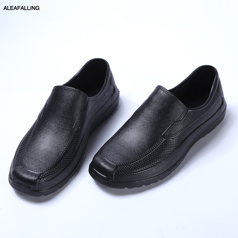 Aleafalling Kitchen Firetwork Rain Shoes Labor Place Men PVC Waterproof All-season Solid Rainboots Cooker's Mature Men Shoes M77