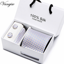 Free Ship Men`s Tie 100% Silk Blue Plaid print Jacquard Woven + Hanky Cufflinks Sets For Formal Wedding Business Party