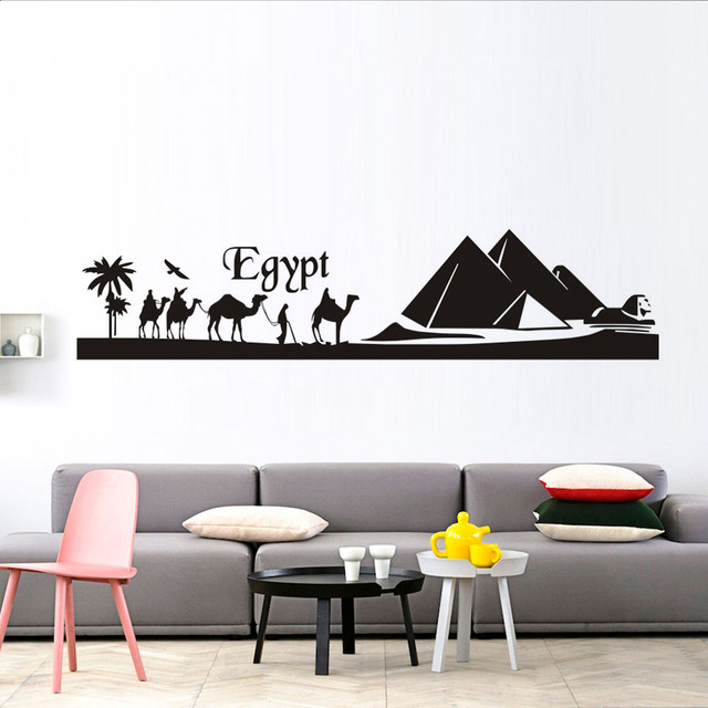 Egypte Pyramide Skyline Chameau Sable Wall Sticker Diy Art Sticker